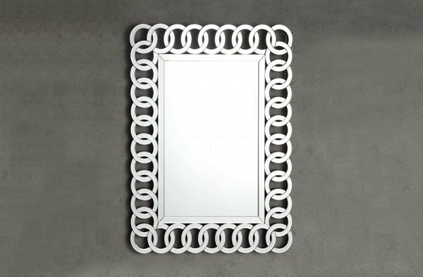 Reflective Contemporary Glass Metal Rectangle Wall Mirror HE-4673M
