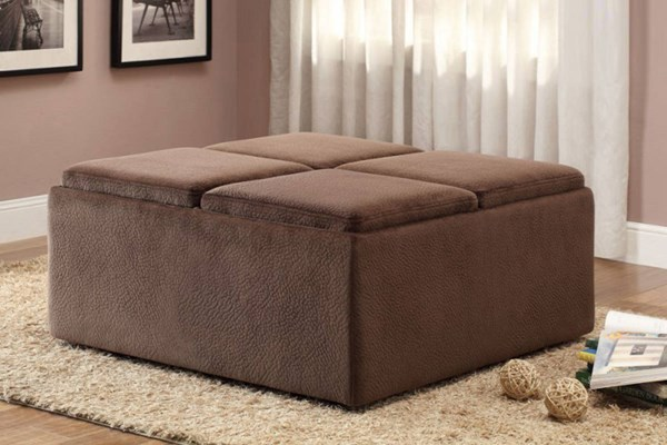 Kaitlyn Chocolate Microfiber Cocktail Ottoman w/Casters HE-468CP