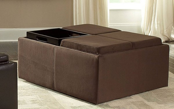 Kaitlyn Contemporary Wood Brown Fabric Cocktail Ottoman w/Casters HE-468MC