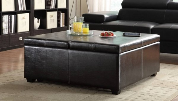 Synergy Casual Dark Brown Wood Vinyl Lift Top Storage Cocktail Ottoman HE-4727PU