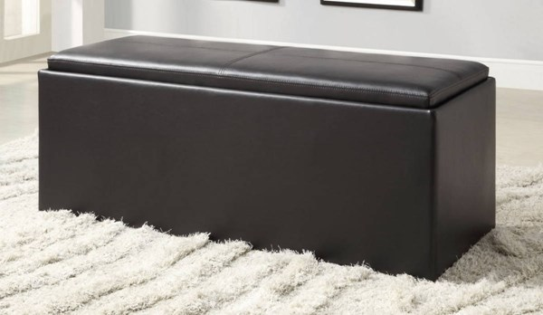 Blasey Black Wood Vinyl Armless & Backless Storage Bench HE-4738PU