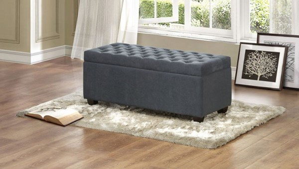 Colusa Transitional Grey Fabric Lift-Top Storage Bench HE-4741FA