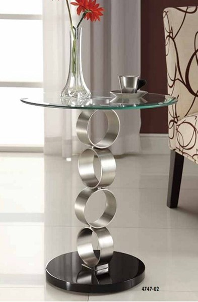 Galaxy Contemporary Silver Black Metal Glass Pedestal Chair Side Table HE-4747-02