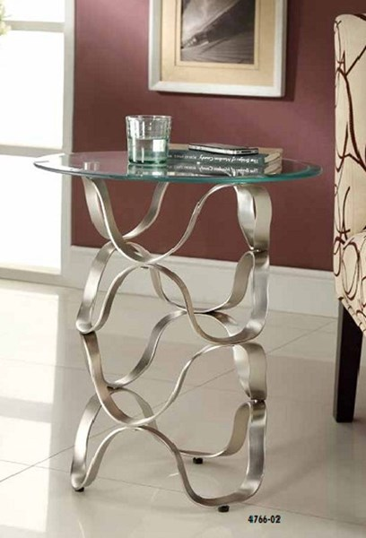Galaxy Contemporary Chrome Wrougtht Iron Glass Chair Side Table HE-4766-02