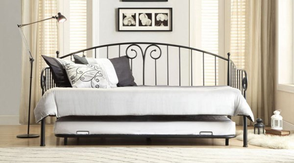 Courtney Contemporary Black Metal Daybed With Trundle HE-4960DB-NT