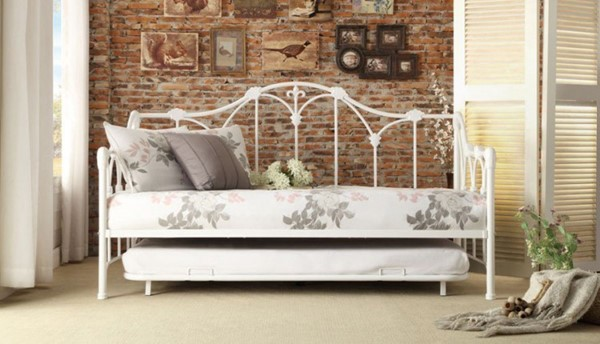 Julia Contemporary White Metal Trundle Daybed HE-4961DB-NT