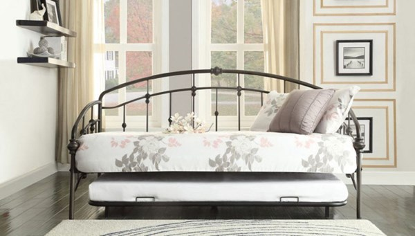 Ruby Traditional Burnished Bronze Metal Daybed w/Trundle HE-4962DB-NT