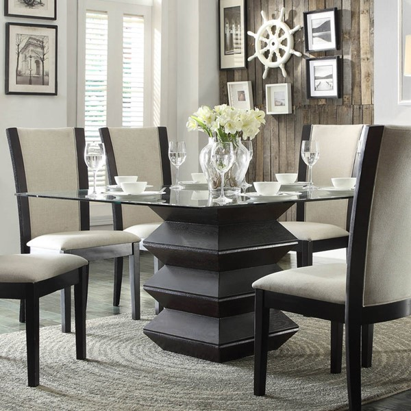Havre Contemporary Rich Dark Espresso Wood Glass Dining Table HE-5021-54