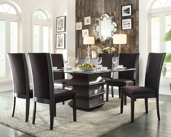 Havre Contemporary Dark Brown Wood Glass Fabric 7pc Dining Room Set HE-5021-DR-S1