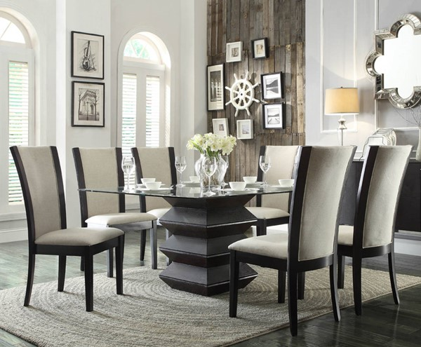 Havre Contemporary Beige Wood Glass Fabric 7pc Dining Room Set HE-5021-DR-S2