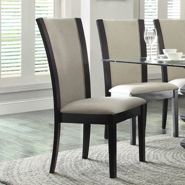 2 Havre Contemporary Beige Dark Brown Wood Fabric Side Chairs HE-5021-CH-VAR