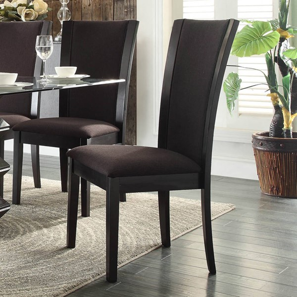 2 Havre Contemporary Dark Brown Wood Fabric Side Chairs HE-5021DBS