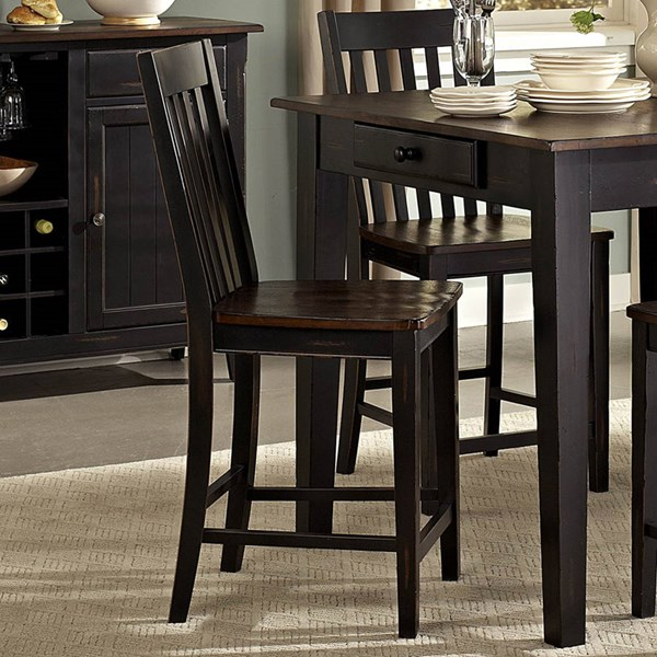 2 Three Falls Transitional Black Dark Brown Wood Counter Height Chairs HE-5023-24
