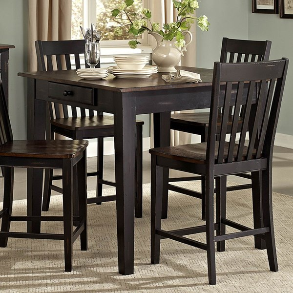 Three Falls Black Dark Brown Wood Counter Height Table w/Two Drawers HE-5023-32