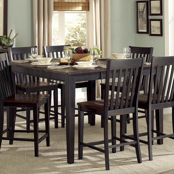 Three Falls Transitional Black Dark Brown Wood Counter Height Table HE-5023-36