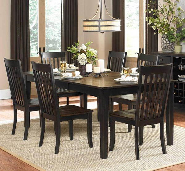 Three Falls Transitional Black Dark Brown Wood Rectangle Dining Table HE-5023-78