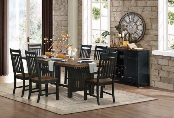 Three Falls Casual Dark Brown Black Wood Trestle Dining Room Set HE-5023-90-DR