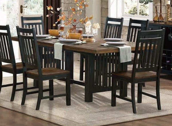 Three Falls Casual Dark Brown Black Wood Trestle Dining Table HE-5023-90