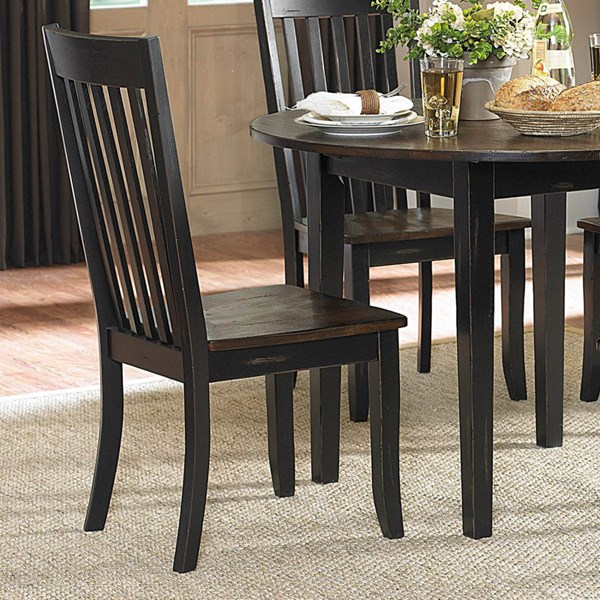 2 Three Falls Transitional Black Dark Brown Wood Side Chairs HE-5023S