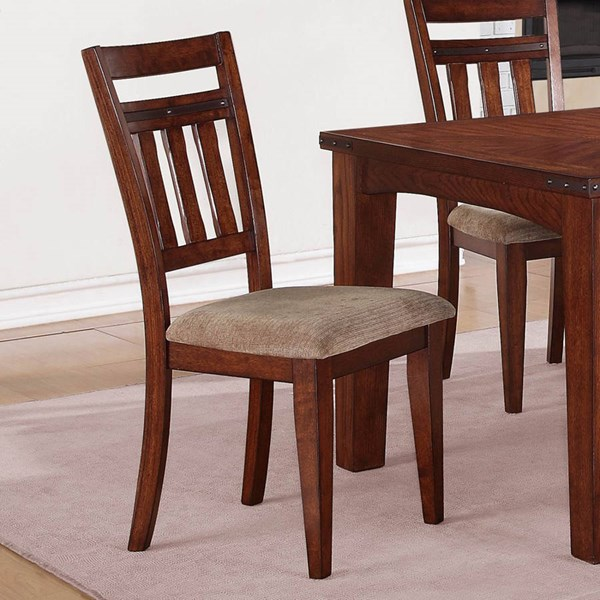 2 Oldsmar Transitional Dark Oak Wood Fabric Side Chairs HE-5027S