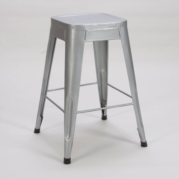 4 Amara Traditional Silver Metal 24 Inch Stools HE-5035SVE-24
