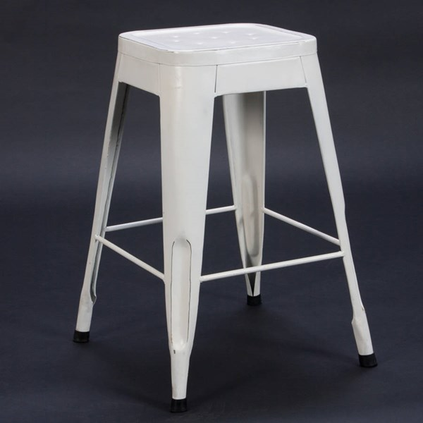 4 Amara Traditional White Metal 24 Inch Stools HE-5035WHT-24
