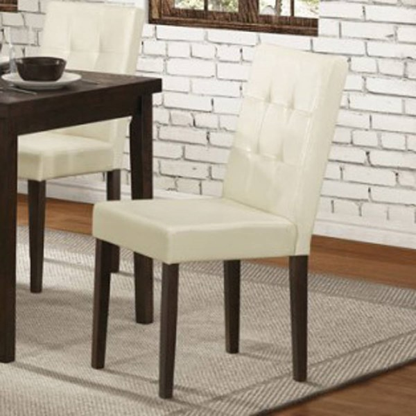 2 Ahmet Espresso Cream Wood Bi Cast Vinyl Side Chairs HE-5039S
