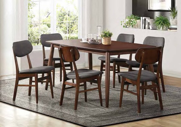 Lev Contemporary Walnut Grey Wood Fabric Dining Room Set HE-5044-DR