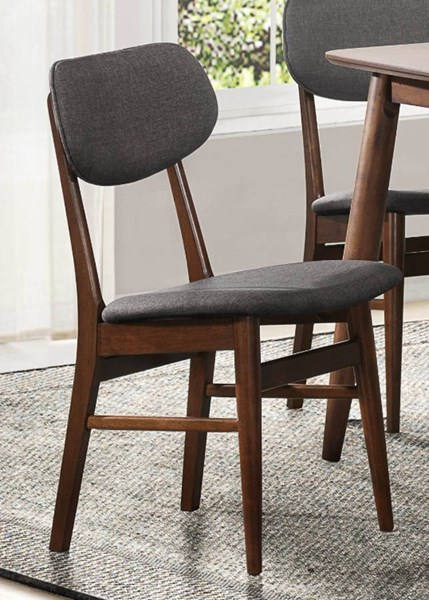 2 Lev Contemporary Walnut Grey Wood Fabric Side Chairs HE-5044S