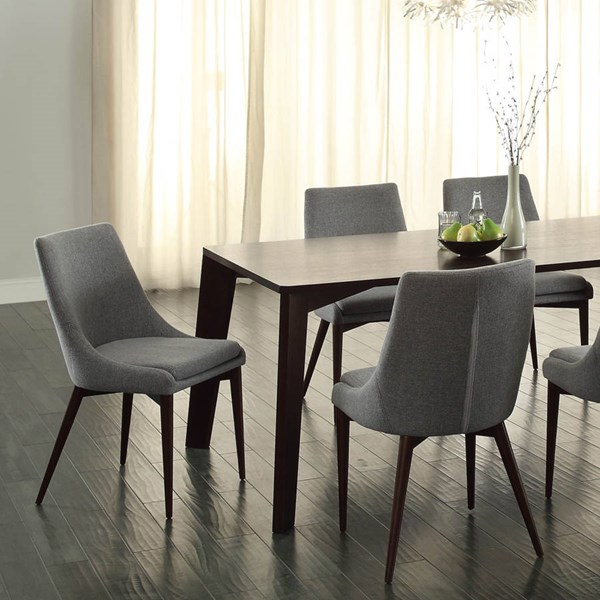 2 Fillmore Contemporary Espresso Grey Wood Fabric Side Chairs HE-5048S