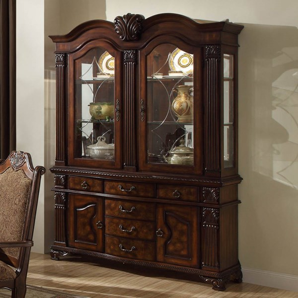 Thurmont Formal Rich Cherry Wood Glass Buffet And Hutch HE-5052-50