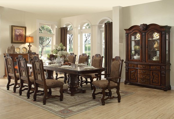 Thurmont Formal Rich Cherry Wood Fabric Dining Room Set HE-5052-DR
