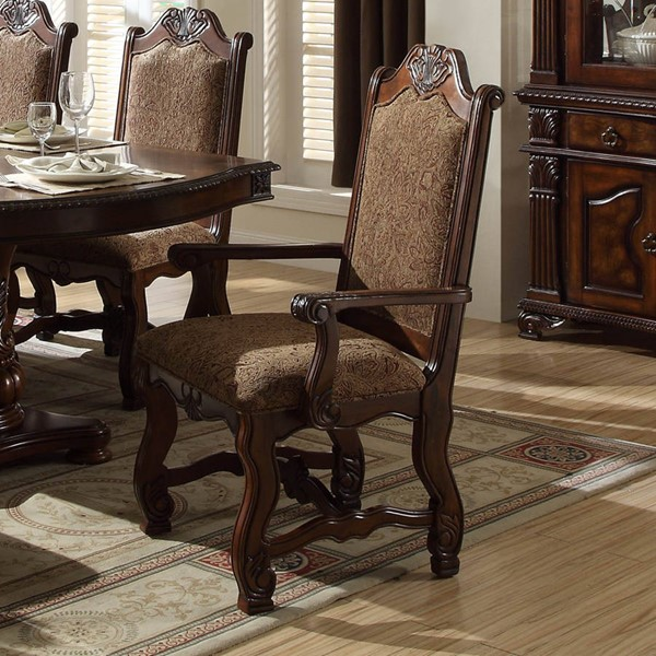 2 Thurmont Formal Rich Cherry Wood Fabric Arm Chairs HE-5052A