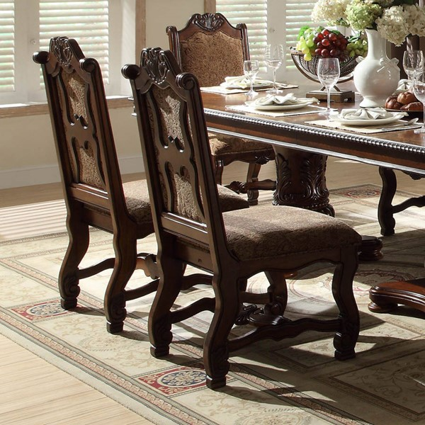 2 Thurmont Formal Rich Cherry Wood Fabric Side Chairs HE-5052S