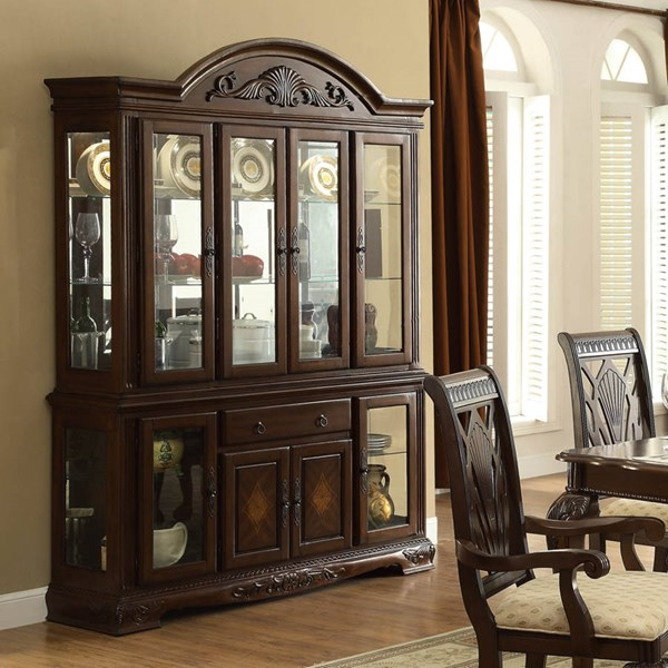 Norwich Traditional Warm Cherry Wood Glass Buffet & Hutch HE-5055-50