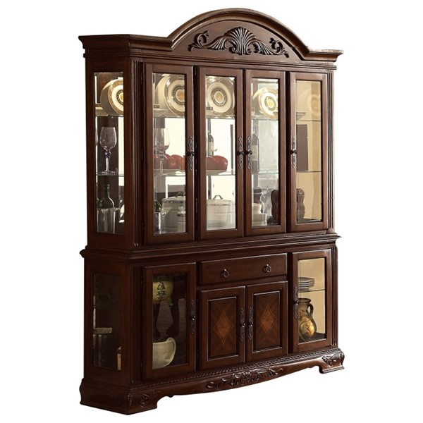 Home Elegance Norwich Warm Cherry Buffet and Hutch HE-5055-50
