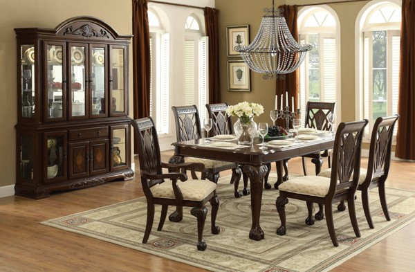 Norwich Traditional Warm Cherry Wood Fabric 7pc Dining Room Set HE-5055-DR-S1