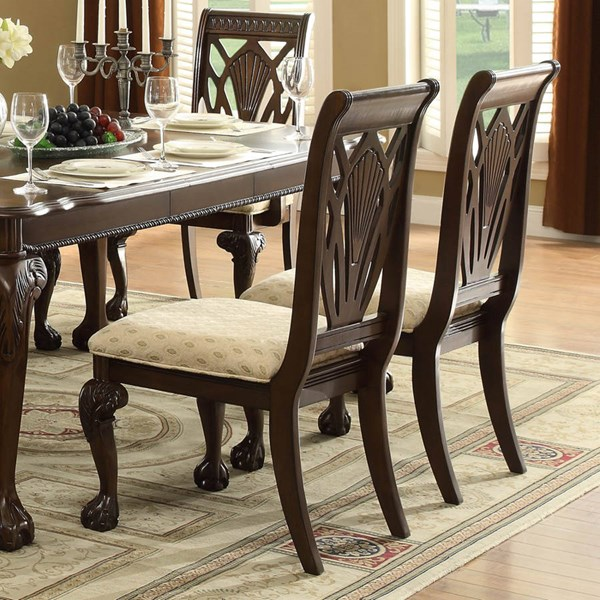 2 Norwich Traditional Warm Cherry Wood Fabric Side Chairs HE-5055S