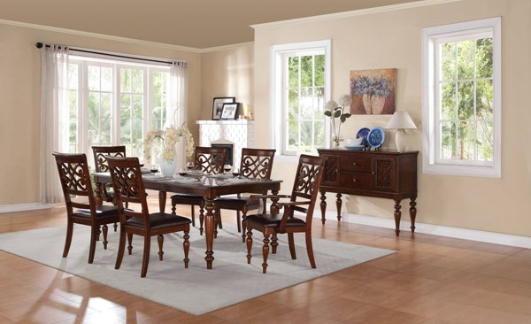 Creswell Rich Cherry Brown Wood Bi-Cast Vinyl Dining Room Set HE-5056-DR