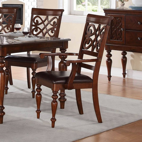 2 Creswell Traditional Rich Cherry Brown Wood Bi-Cast Vinyl Arm Chairs HE-5056A
