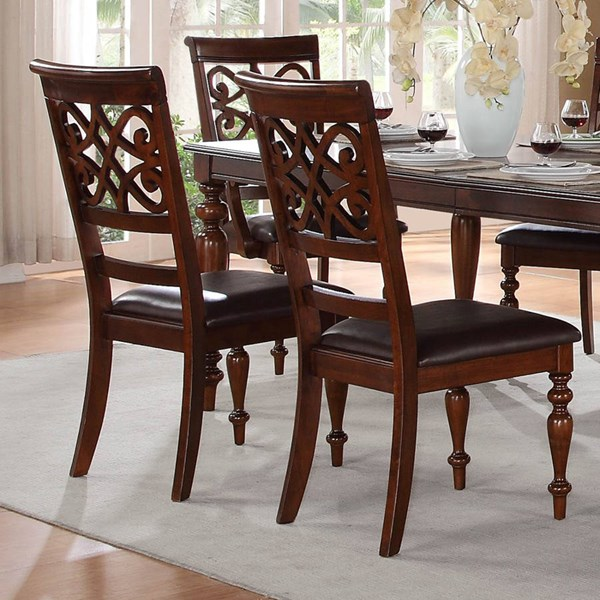 2 Creswell Rich Cherry Brown Wood Bi-Cast Vinyl Side Chairs HE-5056S