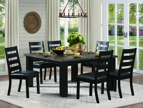 Hyattsville Casual Black Brown Wood Bi-Cast Vinyl Dining Room Set HE-5066-DR