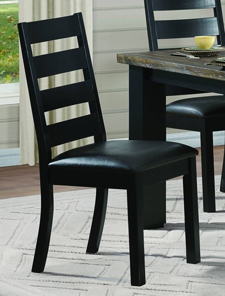 2 Hyattsville Casual Black Brown Wood Bi-Cast Vinyl Side Chairs HE-5066S