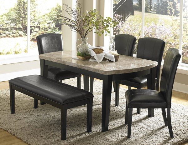 Cristo Dark Espresso Brown Wood Marble Vinyl 6pc Dining Room Set HE-5070-DR-S1