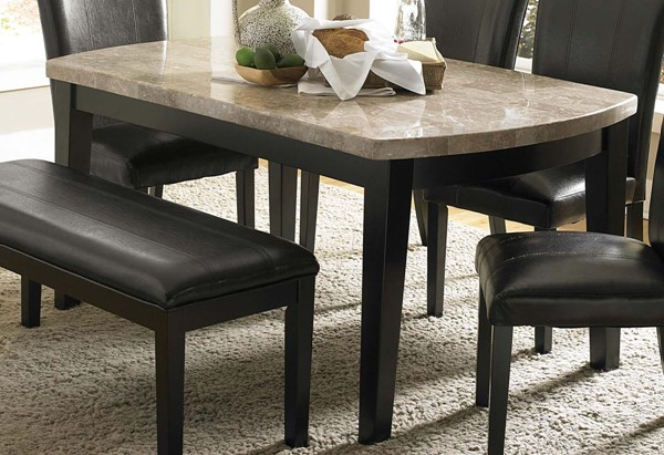 Cristo Dark Espresso Brown Wood Marble Top Dining Table HE-5070-64