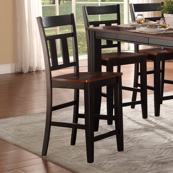 2 Westport Casual Black Cherry Wood Counter Height Chairs HE-5079BK-24