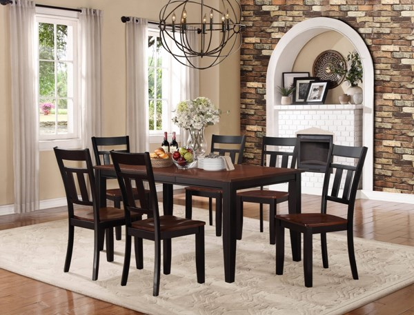 Westport Casual Black Cherry Wood 7pc Dining Room Set HE-5079BK-DR-S1