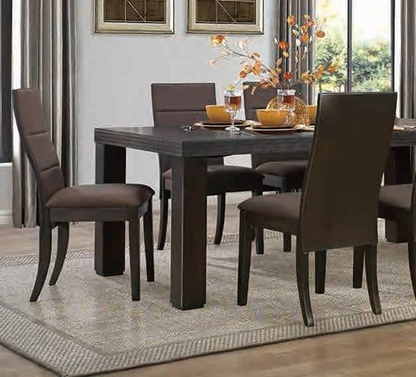 2 Pinole Contemporary Chocolate Dark Espresso Wood Fabric Side Chairs HE-5092S