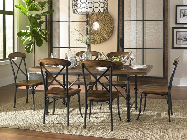 Millwood Transitional Brown Wood Metal 7pc Dining Room Set HE-5099-DR-S1