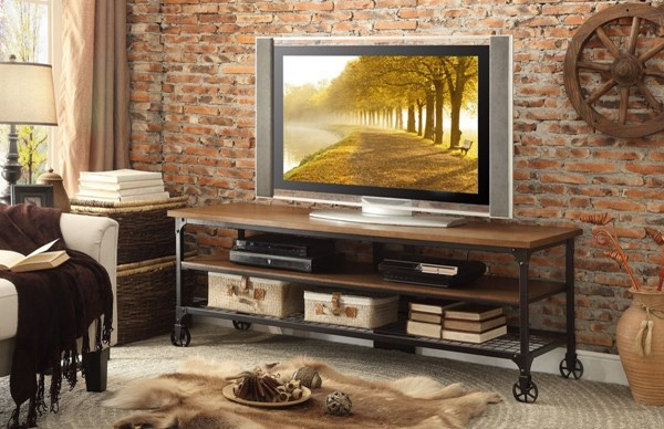 Home Elegance Millwood Distressed Ash 65 Inch TV Stand HE-50990-T